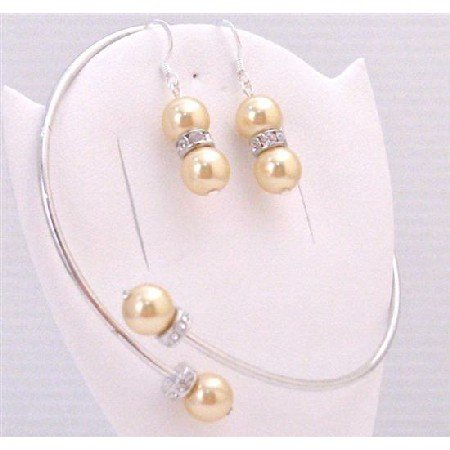 TB885 Gold Pearls Bangle Bracelet & Matching Sterling Earrings Bridal Bridemaids Jewelry