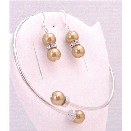 TB882  Golden Pearls Cuff Bracelet Wedding Jewelry Affordable w/Sterling Silver Earrings Set