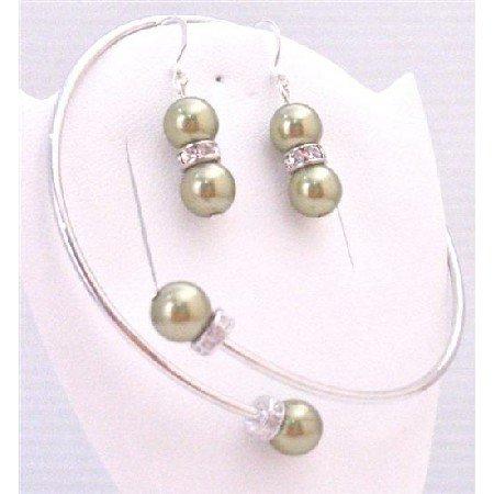 TB888 Olivine Swarovski Pearls Cuff Bracelet & Earrings W/Silver Diamond Spacer