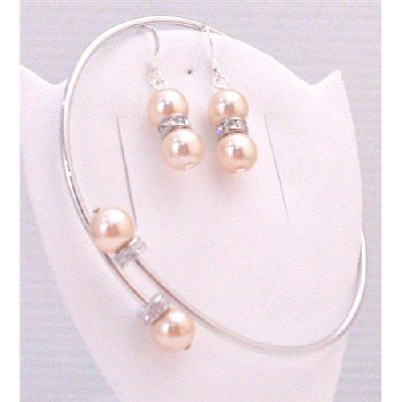 TB892 Swarovski Peach Pearls Silver Rondells Bangle Cuff Bracelet w/Sterling Silver Earrings Jewelry