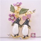 B378  Twin Penguin Brooch Love Romantic Brooch Valentine Brooch Painted Decorated With Flower
