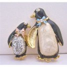B379 Baby Shower Brooch Enamel Penguin Mother & Baby Brooch Decorated w/Bow & Glitter On The Body