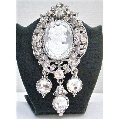B374 Sliver Framed Brooch w/Simulated Diamond & Dangling Silver Lady Cameo Framed