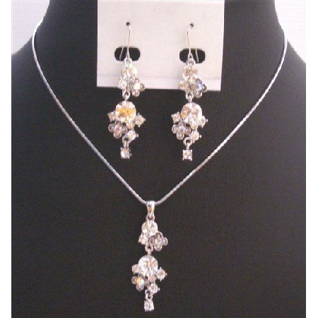 NS725 Hiqh Quality Jewelry Fully Embedded w/Simulated Diamond Jewelry Set