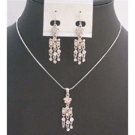 NS719  Beautiful Pendant And Earrings Dangling Necklace Fully Embedded With Cubic Zircon