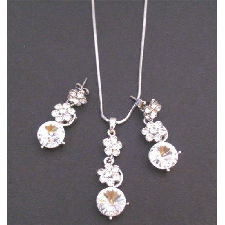 NS720 Bridal Necklace Set Clear Crystals Flower Necklace Set Clear Crystals Dangling Wedding Jewelry