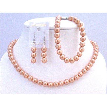 NS700 Light Orange Pearls Complete Set w/Bracelet Bridal Bridemaids Wedding Jewelry Set