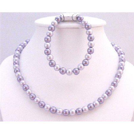 NS704 Wedding Bridemaids Jewelry In Lilac & Victorian Lilac Necklace & Stretchable Bracelet Set
