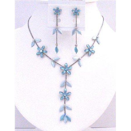 NS703  Gorgeous Blue Floral Necklace Set Blue Jewelry Set Beautiful Y Shaped Necklace Set