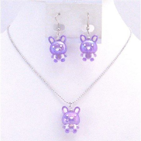 NS707 Beautiful Cute Purple Rabbit Easter Jewelry Set Necklace & Earrings Affordable Gift For Girls