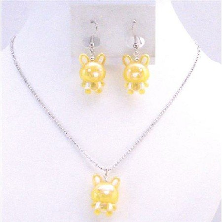 NS706 Yellow Rabbit Easter Jewelry Set Necklace & Earrings Wonderful Gift For Girls Jewelry