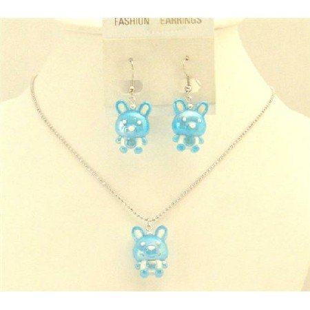 NS711  Easter Blue Rabbit Easter Jewelry Set Necklace & Earrings Cute Easter Gift For Girls Jewelry