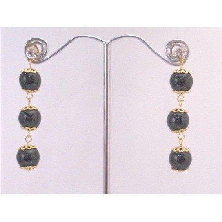 ERC586  Black Agate Stone Bead 22K Gold Plated Hook & Chain Diamante Post Earrings