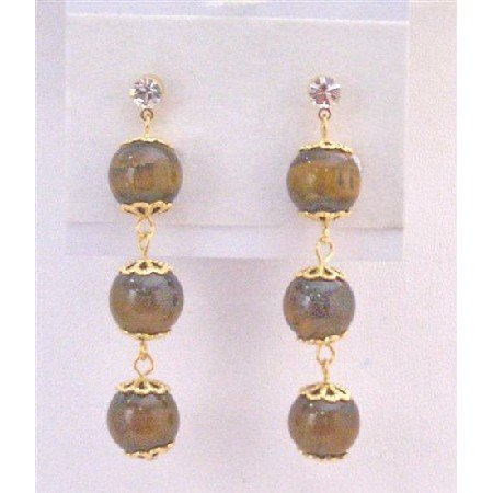 ERC584 Surgical Post Earrings Tiger Eye Bead 22K Gold Plated Hook & Chain Diamante Post Earrings