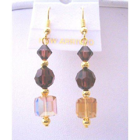 ERC593 Round Burgundy 6mm With 3mm Golden Beads 22k Gold Plated Earrings