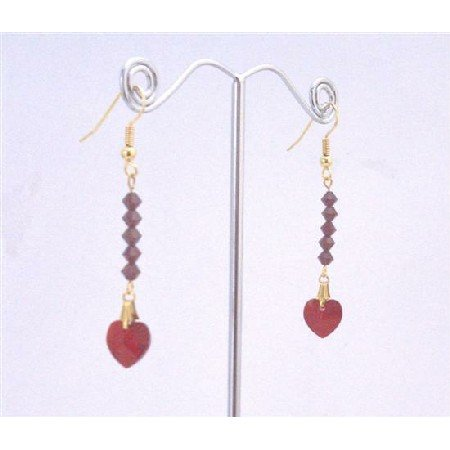 ERC592  Siam Red Crystals Heart Dangling Earrings 22k Gold Plated Earrings