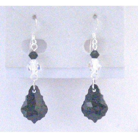 ERC591 Jet Crystals Teardrop Silver Hook Earrings AB Crystals & Jet Crystals Combo Dangling Earrings