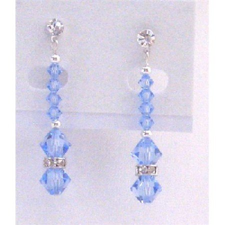 ERC602  Surgical Post Earrings Lite Sapphire Crystals With Silver Beads & Silver Rondells Spacer