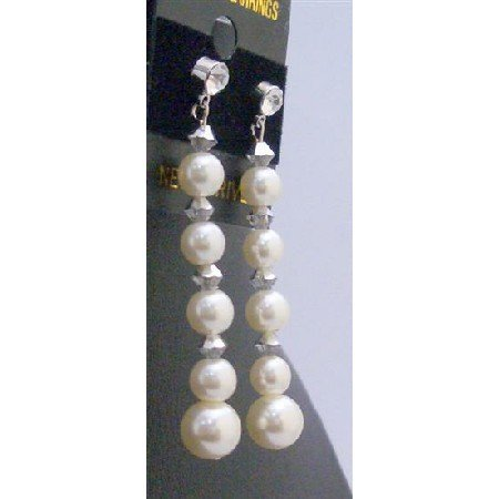 ERC603  Comet Swarovski Crystals With Ivory Pearls Sterling Silver Earrings Flower Bridemaids