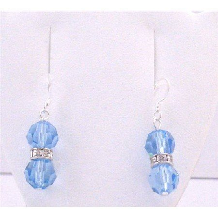 ERC594 Swarovski Aquarmine Crystals Round Crystals Silver Rondells Sterling Silver Hook Earrings