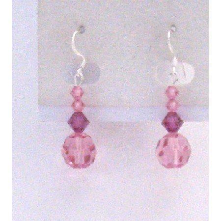 ERC595  Sterling Earrings Rose Fuschia Fancy Jewelry Sterling Silver Hook Earrings