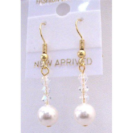 ERC599  Golden Hook Earrings With White Pearls & AB Crystals Bridemaids Flower Girls Jewelry