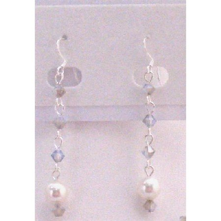 ERC601 White Pearls w/White Opal Star Shine Crystals Dangling Sterling Silver Hook Earrings