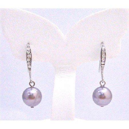 ERC580 Cubic Zircon Encrusted Hook Earrings Diamante Earrings Mauve Swarovski Pearls