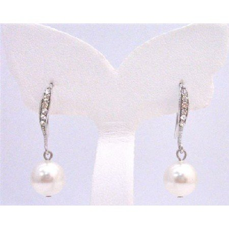 ERC578  White Swarovski Pearls Dangling From Hook Fully Embedded Simulated Diamond Earrings