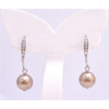 ERC583 Genuine Swarovski Bronze Pearls Earrings Dangling From Diamante Hook