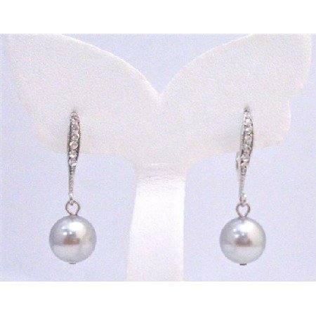 ERC581 Diamante Earrings Genuine Lite Grey Swarovski Pearls Dangling Earrings