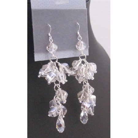 ERC566  Austrian Crystals w/ Pineapple Teardrop Expensive Genuine Swarovski Beads Earrings