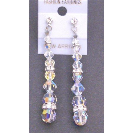 ERC568 Comet Argent Light Crystals Swarovski Crystals With AB Round With AB Bicones Earrings