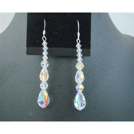 ERC551  Pear Teardrop AB Crystals Sterling Silver Earrings Round Swarovski Crystals Beads Earrings