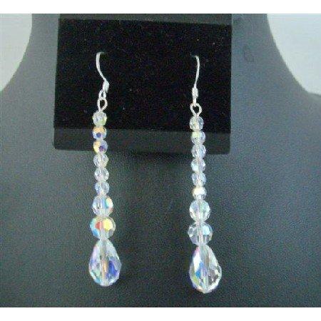ERC550 AB Crystals Teardrop Pear Shaped Genuine Swarovski Crystals Sterling Silver Earrings