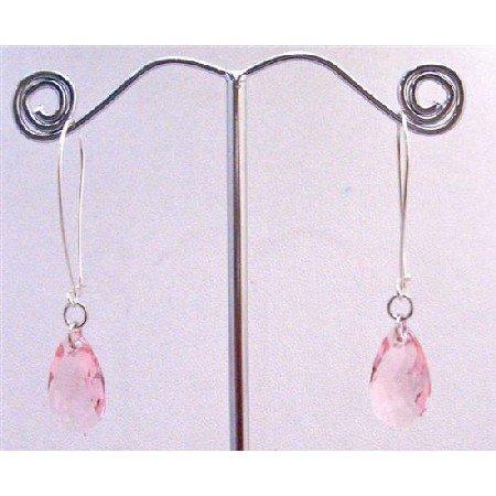 ERC573  Genuine Swarovski Lite Rose Polygan Pendant In Silver Hoop Earrings
