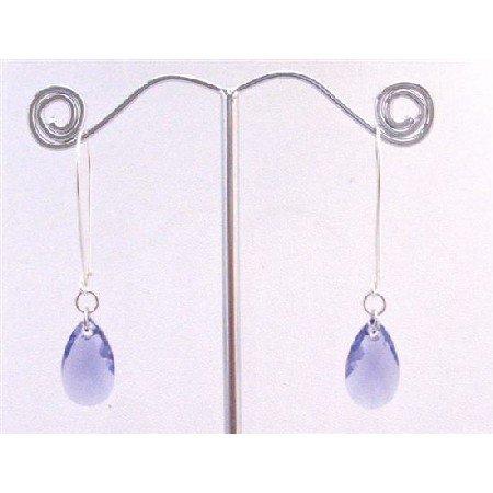 ERC571 Tenzanite Polygan Pendant In Silver Hoop Earrings Genuine Swarovski