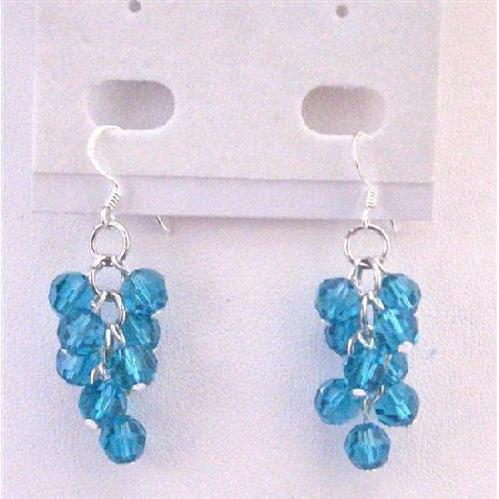 ERC561  Bunch Crystals Round Bead Earrings Exclusive Genuine Swarovski Round Blue Zircon