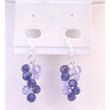 ERC563 Voilet & Tanzanite Round Crystals Genuine Swarovski Round Bead Grape Bunch Earrings