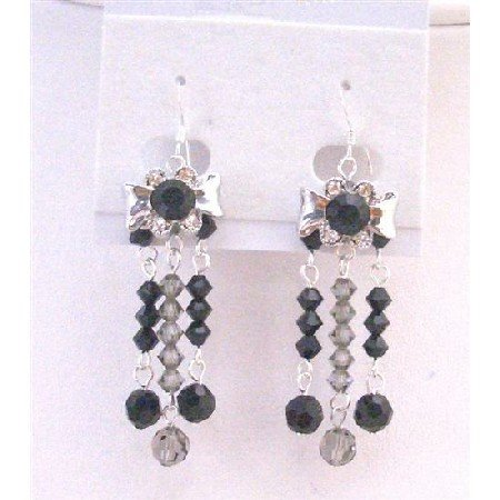 ERC557 Jet Crystals & Black Diamond Crystals Dangling 3 Stranded Sterling Silver Earrings