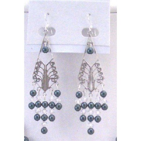 ERC565  Tahitian Pearls w/Clear Crystals Genuine Austrian Crystals Frame Chandelier Earrings