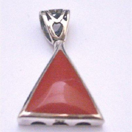 SPEN043  Sterling Silver Jewelry Collection Of Stylish Celebrity Coral Inlay Sterling Silver Pendant