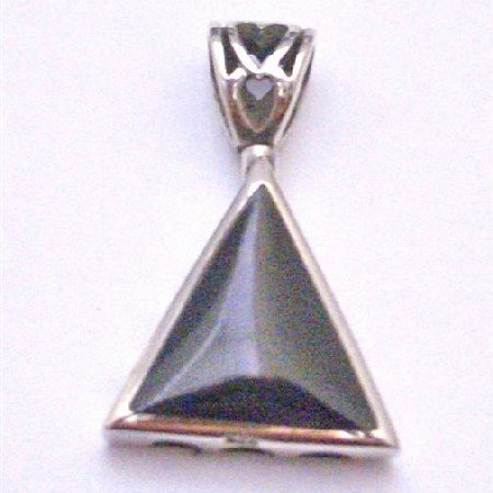 SPEN041 Silver Jewelry Onyx Black Inlay Sterling Silver Pendant Sterling Silver Teardrop Pendant