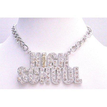 HH242  High School Pendant Necklace Hiphop Necklace Fully Sparkling Diamante Pendant