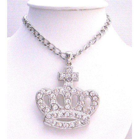HH243  Sparkling Diamante Hip Hop Crown Pendant Fully Encrusted Embedded With Simulated Diamond