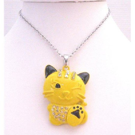 HH238  Yellow Enamel Painted Pendant Yellow Cat Pendant Embedded w/Diamante