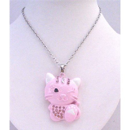 HH244 Pink Cute Cat Pendant Embedded With Crystals & 1 Eye Closed Blinking At You