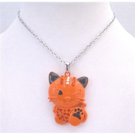 HH237 Orange Enamel Cat w/Fire Opal Crystals On Head & Body Cunning Cat Pendant Necklace