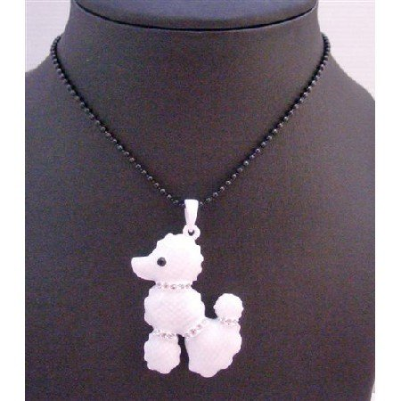 HH230 White Poodle Pendant w/Crystals On Neck Tail & Legs 27 Inches Black Long Necklace