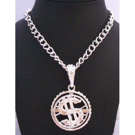 HH175 Spinning Dollar Pendant Men Jewelry Bling Bling Pendant w/ Cubic Zircon 28 Inches Necklace